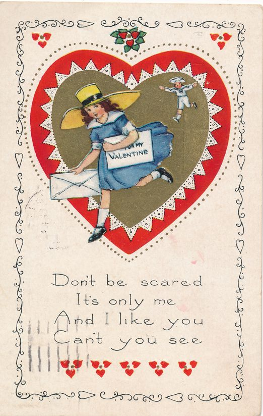 Valentine Greetings Don't be Scared - Letter to My Valentine - pm 1923 at Saint Joseph MO - Whitney Made - Divided Back