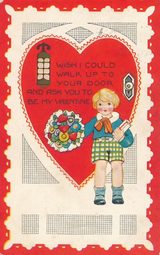 Valentine Greetings - Wish you were my Valentine - pm 1925 - Whitney Made - Divided Back