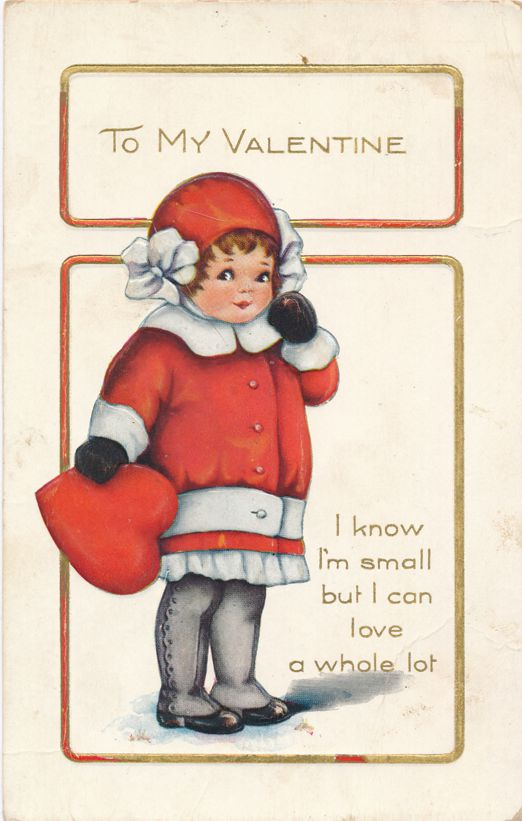 Valentine Greetings - I'm Small but Love a Lot - pm 1917 at Salina KS - Whitney Made - Divided Back