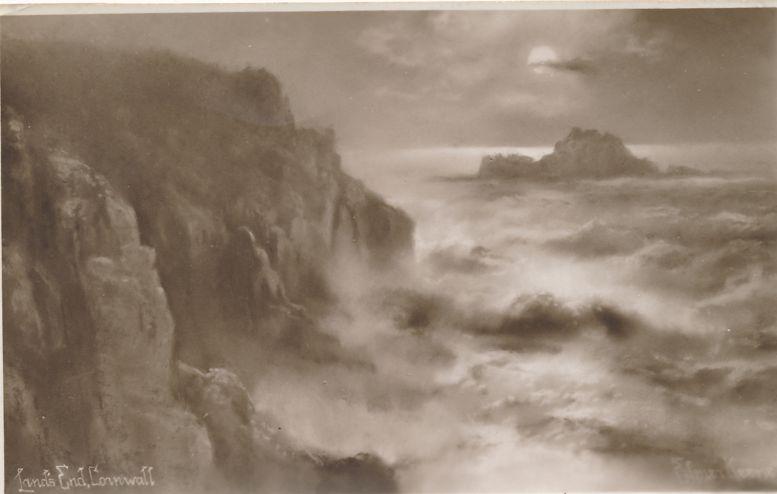 RPPC Angry Sea at Land's End, Cornwall, England, United Kingdom - Real Photo