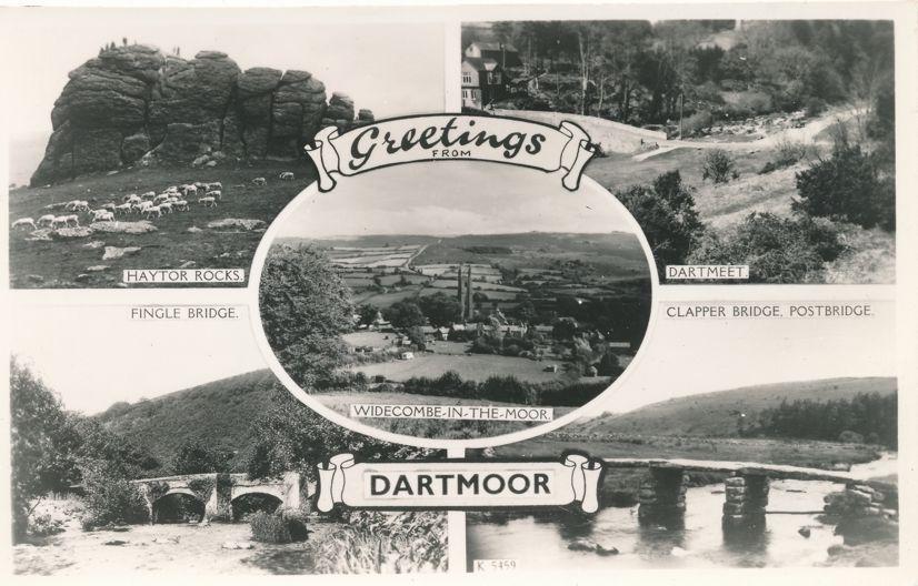 RPPC Greetings from Dartmoor, Devon, England, United Kingdom - Real Photo