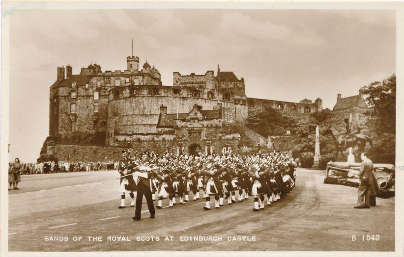RPPC Bands of Royal Scots at Edinburgh Castle, Scotland, United Kingdon - Real Photo
