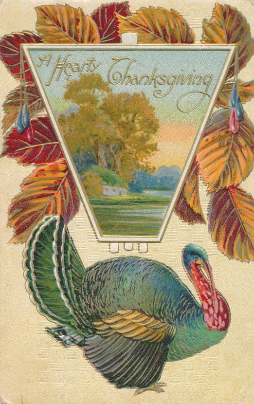 Hearty Thanksgiving Greetings - Turkey and Autumn Leaves - pm 1912 at Darien Center NY - Divided Back