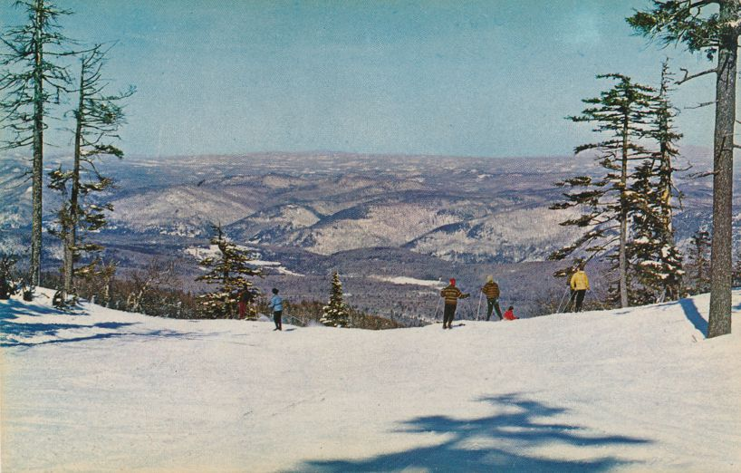 Skiers at Killington Ski Area near Rutland, Vermont