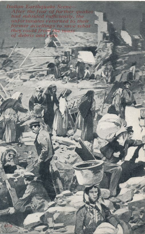 Disaster Earthquake Scene, Italy - Unfortunates returning to former dwellings - Divided Back
