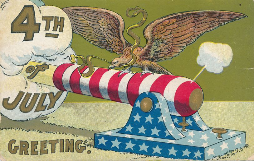July 4th Greetings - Eagle on Cannon - Divided Back