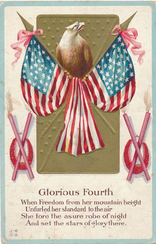 July 4th Greetings - Glorious Fourth - Eagle and Flag - E. Nash - Divided Back