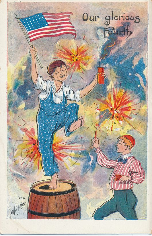 July 4th Greetings Glorious Fourth - Dancing with Sparklers - a/s Hilder - Divided Back
