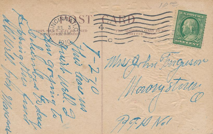 July 4th Greetings - Eagle and Indian - pm 1910 at Cincinnati OH - Divided Back