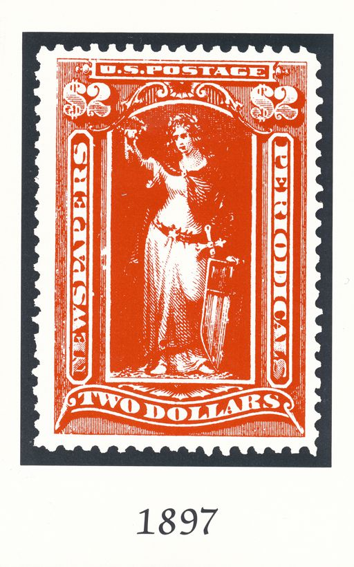 Postcard of 1897 Two Dollar Newspaper Stamp