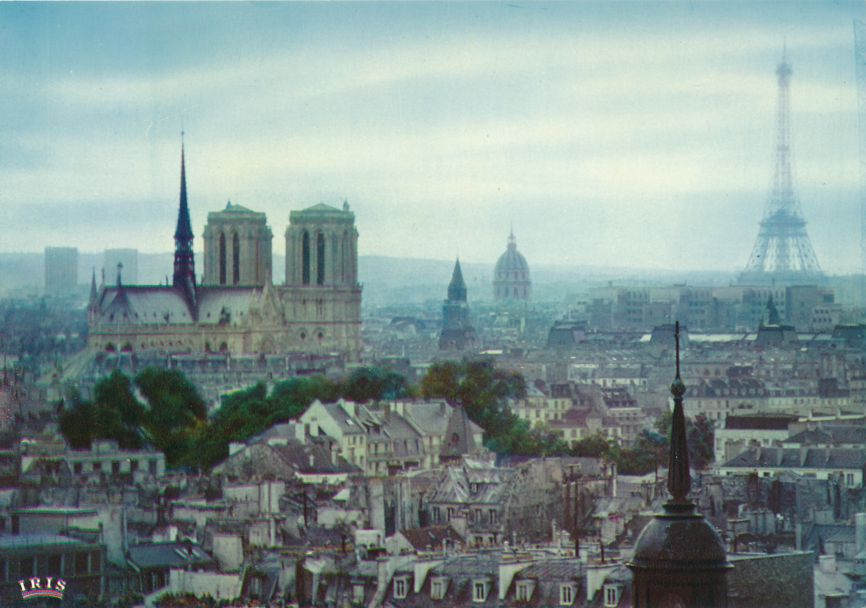 Paris, France - Panoramic view from Notre-Dame to Eiffel Tower