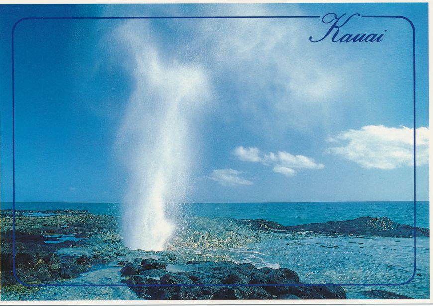 Spouting Horn on Island of Kauai, Hawaii - Geyser like spray