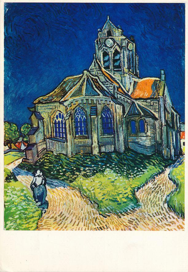 Artist Van Gogh - Church at Auvers 1890 - pm 1973 at Edinburgh Scotland