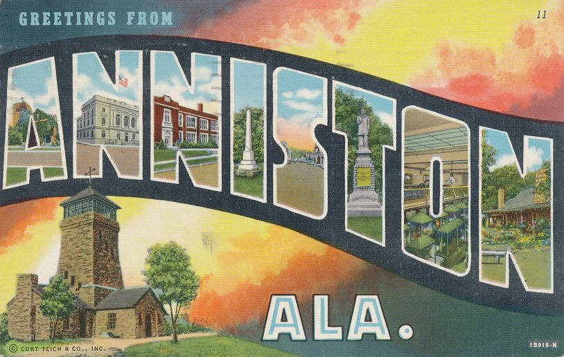 Greetings from Anniston, Alabama - Linen Large Letter - pm 1943 at Birmingham AL