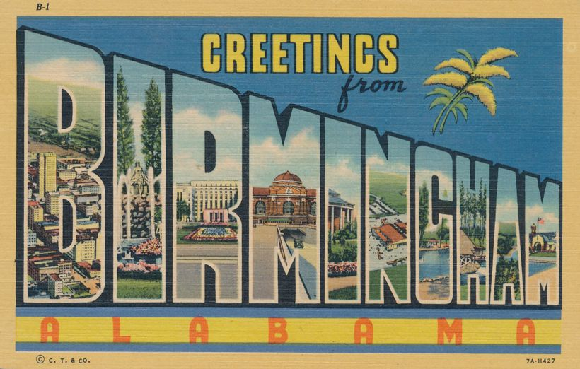 Greetings from Birmingham, Alabama - Linen Large Letter