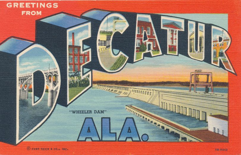 Greetings from Decatur, Alabama - Wheeler Dam - Linen Large Letter