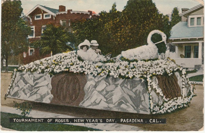 Tournament of Roses Parade - Swan on Floral Float - Pasadena, California - pm 1923 at Hermosa Beach - Divided Back