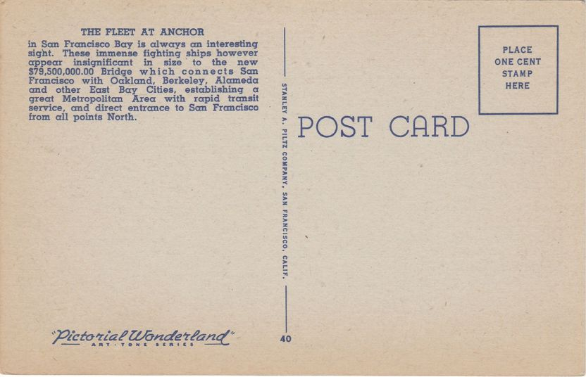 Battleships at Anchor near San Francisco-Oakland Bay Bridge, California - Linen Card