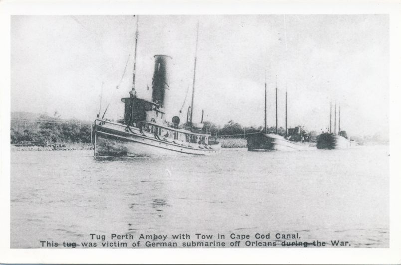 RPPC Tug Perth Amboy with Tow after WWI German Submarine Attack - Cape Cod, Massachusetts - Real Photo