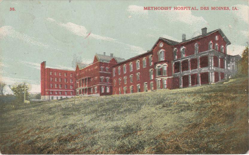Methodist Hospital - Des Moines, Iowa - pm 1908 at Truro IA - Divided Back