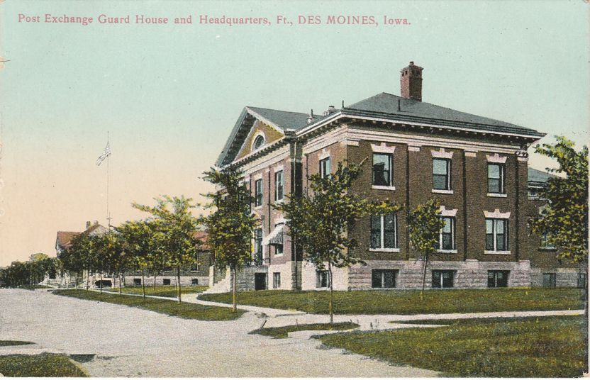 Post Exchange Guard House and Headquarters Des Moines, Iowa - Divided Back