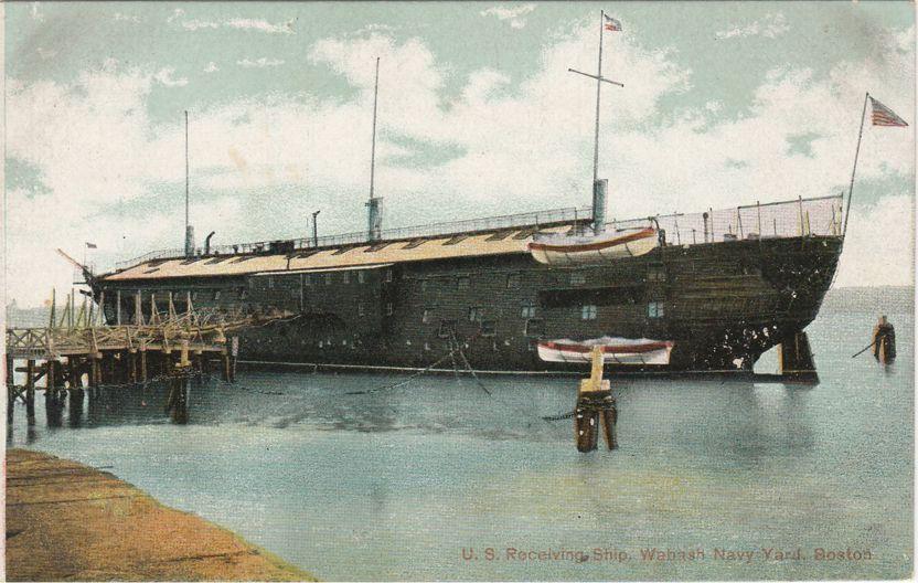 U.S. Receiving Ship - Wabash at Navy Yard, Boston, Massachusetts - Divided Back