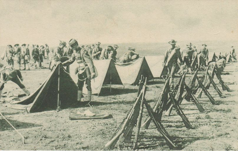 Soldiers Setting up Army Tents - Military WWI - Bergman Quality - Divided Back