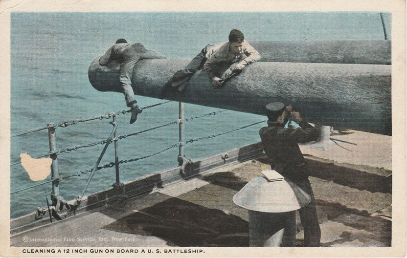 Cleaning 12-inch Gun on Board a U. S. Navy Battleship - Military WWI - pm 1918 at Chicago IL - White Border