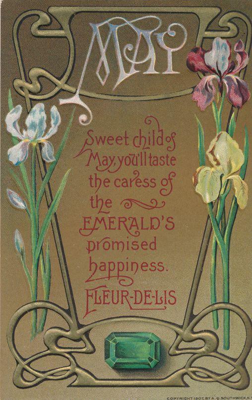 Birth Month May - Birthstone Emerald - Flower Fleur-De-Lis - Divided Back