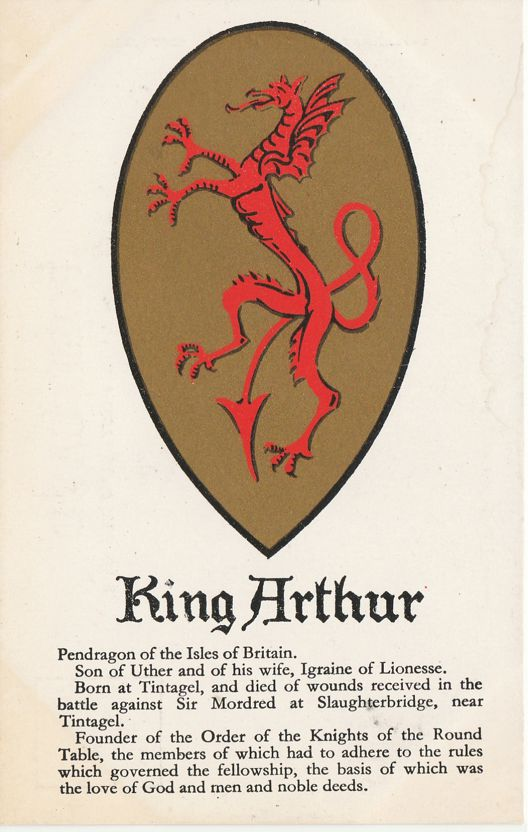 King Arthur Pendragon of Isles of Britain - Souvenir from Tintagel Castle England - Undivided Back