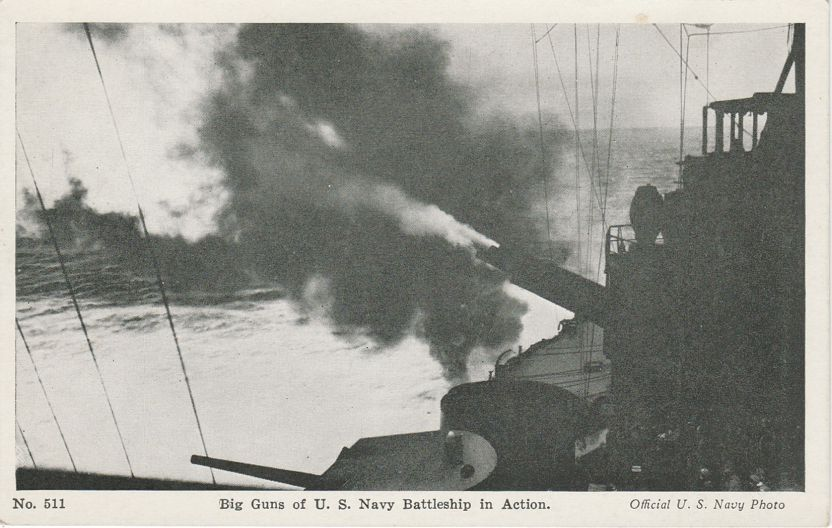 Big Guns of U.S. Navy Battleship in Action - Military WWII ?