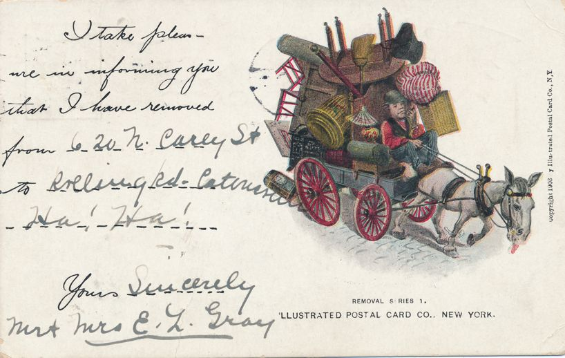 Removal Series 1 - Notice of Address Change Greeting - Loaded Wagon - pm 1906 at Baltimore MD - Undivided Back