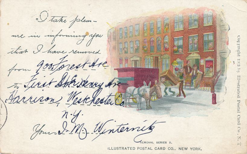 Removal Series 3 - Notice of Address Change Greeting - Moving Van - pm 1907 at New York City - Undivided Back