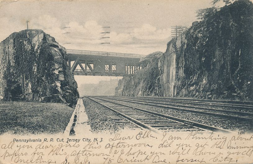 Pennsylvania Railroad Cut near Jersey City, New Jersey - pm 1907 - Undivided Back
