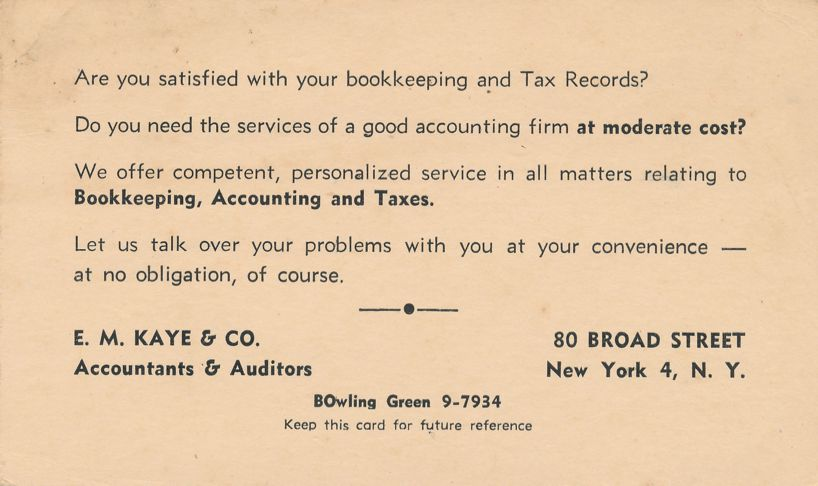 E. M. Kaye Accountants & Auditors, New York City - Advertisement for Bookkeeping Services - pm 1947