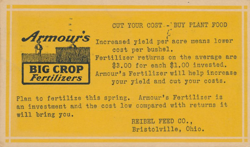 Advertisement for Armour's Big Crop Fertilizers - Reibel Feed Co., Bristolville, Ohio - pm 1931 at Toledo