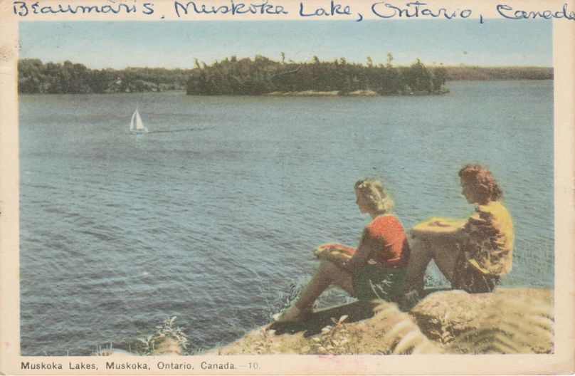 Relaxing on Shore at Muskoka Lakes - Muskoka, Ontario, Canada - pm 1948 at Beaumaris ONT