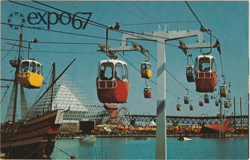 Expo67 - Montreal, Quebec, Canada - Sky Ride over Dolphin Lake