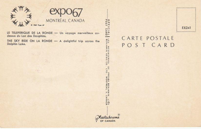 Expo67 - Montreal, Quebec, Canada - Sky Ride over Dolphin Lake