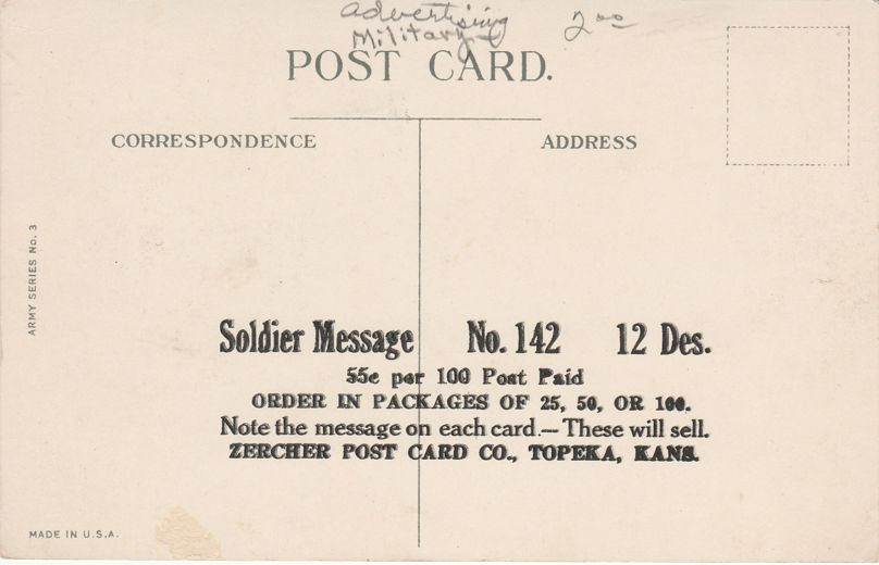 Big Gun and Message to Soldier - Ad for Zercher Post Card Co of Topeka Kansas - Divided Back