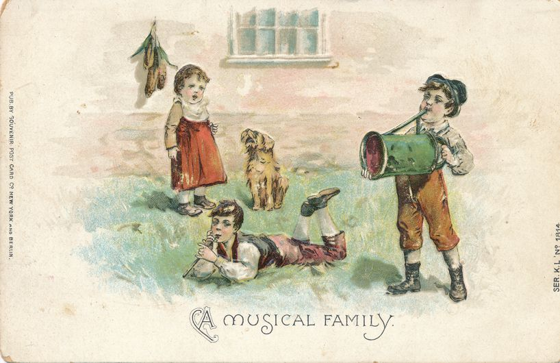 Children Playing Greetings - A Musical Family - Girl, Dog, Boys - Divided Back