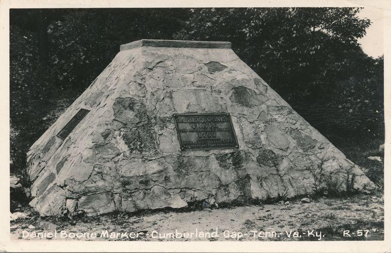 RPPC Daniel Boone Marker - Monument - Cumberland Gap, Kentucky - Real Photo