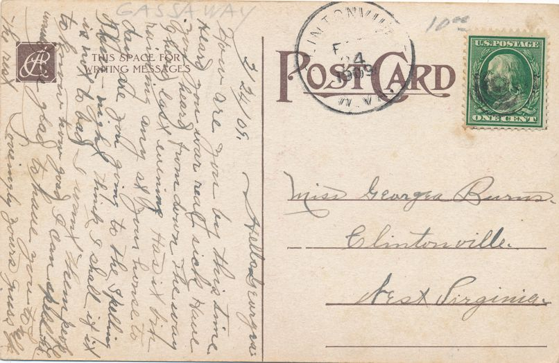Loves Young Dream - Valentine Greetings - a/s Katherine Gassaway - DPO 1909 at Clintonville WV - Divided Back
