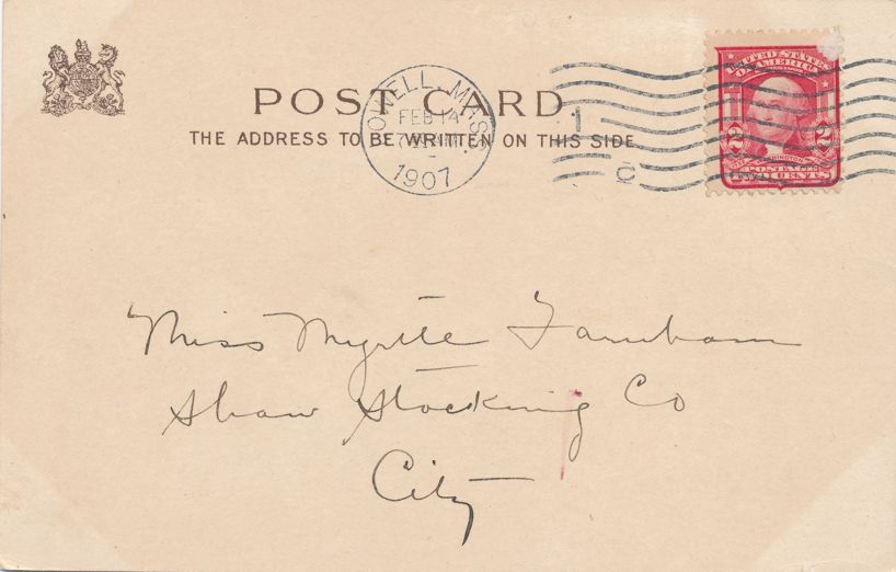 Add or Multiply Love but can't Divide - Valentine Greetings a/s E Curtis - pm 1907 at Howell MA - Undivided Back - Tuck