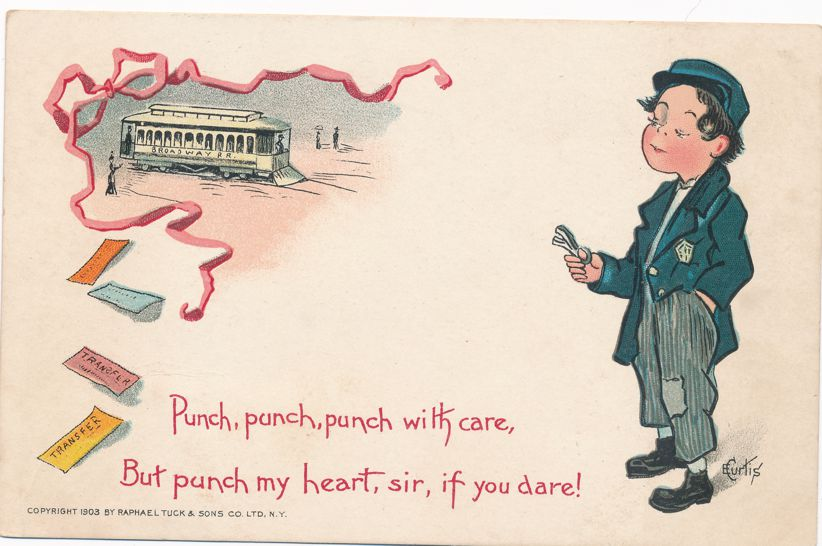 Punch with Care - Hobo - Trolley - Valentine Greetings a/s E Curtis - Undivided Back - Tuck