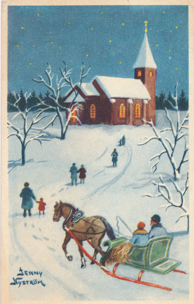 Christmas Greetings from Sweden - Church Horse and Sleigh - pm 1958 - a/s Jenny Nystrom