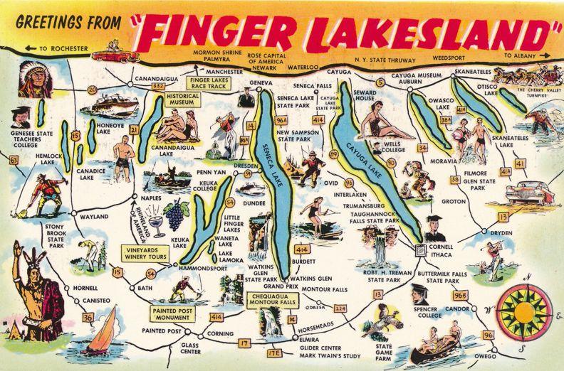Greetings from Finger Lakesland, New York - Map of Finger Lakes Region
