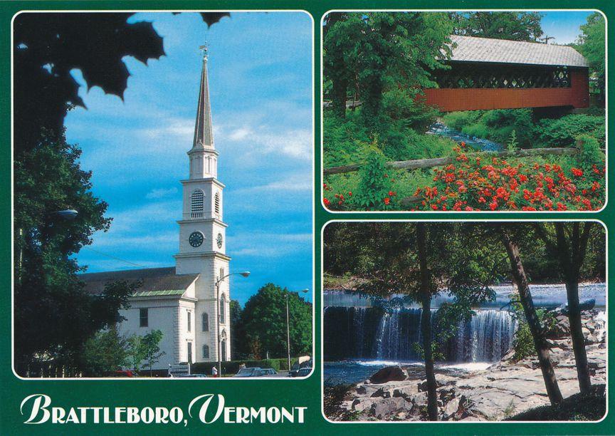 Congregational Church - Creamery Covered Bridge - Rock River Falls - Brattleboro, Vermont