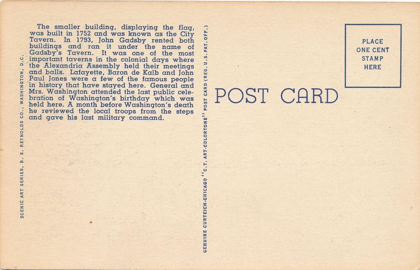 Gadsby's Tavern - Alexandria, Virginia - Linen Card