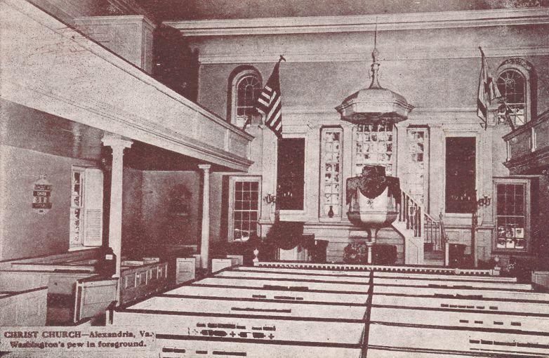 Christ Church Interior showing Washington Pew - Alexandria, Virginia - Divided Back